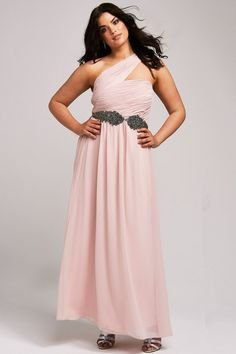 6ebb21f92267a Pearl Pink One Shoulder Long Chiffon Plus Size Long Homecoming Dress with  Belt Gorgeous Wedding Dress