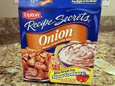 Make GF version of Lipton's onion soup mix |  Ingredients:  1½ cups dried minced onion  ⅔ cup beef bouillon powder (gluten-free)  2½ tablespoons onion powder  ½ teaspoon crushed celery seed  ½ teaspoon sugar    Directions:  Combine all ingredients and store in an airtight container. About 5 tablespoons equals a single 1¼-ounce package of Lipton's mix.