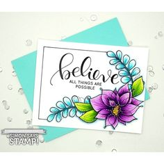 Winter Flowers, Believe: SSS, copic coloring video, Kelly Latevola, flower sketch Simon Says Stamp Blog, Winter Flowers, Spring Flowers, Mothers Day Cards, Heart Cards, Card Making Inspiration, Watercolor Cards, Card Sketches, Copics