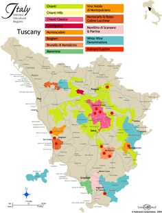 Tuscany Vineyard Wine Map
