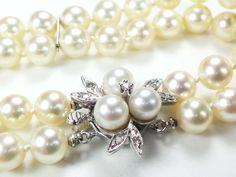 $895 Vintage 14k Gold Diamond Pearl Bracelet Double Strand Pearl Bracelet June Birthstone Japanese Cultured Pearl Bracelet Bride Floral by BelmarJewelers on Etsy