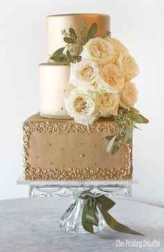 Featured Cake: The Pastry Studio; Featured Cake: The Pastry Studio; Square Wedding Cakes, Cool Wedding Cakes, Beautiful Wedding Cakes, Wedding Cake Designs, Wedding Cake Toppers, Beautiful Cakes, Square Cakes, Cupcakes Flores, Gold Cake