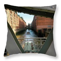 """Bridges Of Hamburg Throw Pillow by Marina Usmanskaya.  Our throw pillows are made from 100% spun polyester poplin fabric and add a stylish statement to any room.  Pillows are available in sizes from 14"""" x 14"""" up to 26"""" x 26"""".  Each pillow is printed on both sides (same image) and includes a concealed zipper and removable insert (if selected) for easy cleaning.  MarinaUsmanskayaFineArtPhotography, hamburg,speicherstadt, home decor,art prints,bridge"""