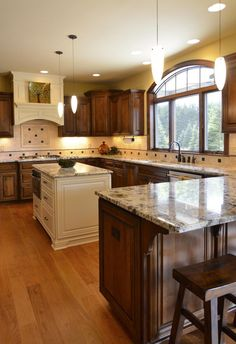 Contrasting Kitchen Islands Dark Wood