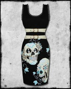 TOO FAST BLACK SUGAR SKULL STACHES TATTOO ROCKABILLY PINUP DAMNED PENCIL DRESS | eBay