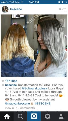 Transformation to GRAY! For this color I used Igora Royal at her base and melted through and to her ends! Smooth blowout by my assistant Toner For Brown Hair, Violet Brown Hair, Diy Hair Toner, Hair Color Formulas, Cabello Hair, Hair Color And Cut, Hair Hacks, Hair Tips, Great Hair