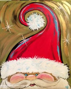 Easy Canvas Painting Ideas for Christmas - Hand Painted Adorable Santa Face - Christmas Paintings On Canvas, Holiday Canvas, Santa Paintings, Easy Paintings, Decorative Paintings, Tree Paintings, Christmas Art, Christmas Projects, Holiday Crafts