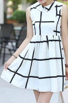 Lapel Grid Printing Sleeveless Dress