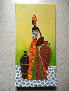 Negra con tinajas en pintura rocalla o pasta piedra.