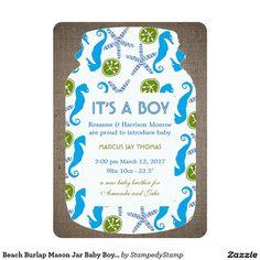 Beach Burlap Mason Jar Baby Boy Announcement