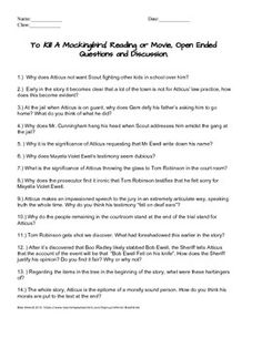 To Kill a Mockingbird - Journal Topics, FREE document download for ...