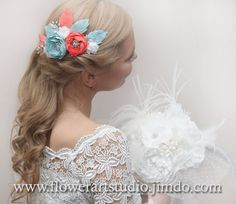 Bridal Headpiece Coral and mint green flower by Flowerartstudio