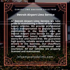 Detroit Airport, Toronto Airport, Buffalo Airport, Airport Limo Service, Airport Transportation, Detroit Area, Windsor, Book