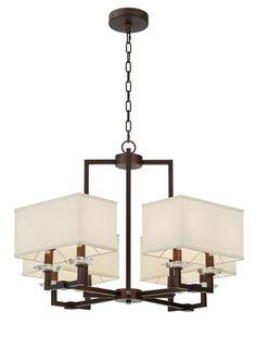 最灯饰现代新中式四方布罩水晶吊灯