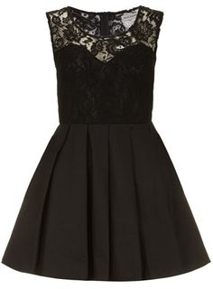 Lace and pleat skater dress (DOROTHY PERKINS)