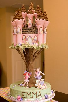 I could squeeze a pink castle in...maybe use cake cones covered in fondant?
