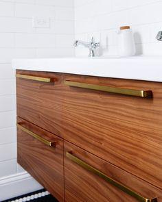 Mastering the mix of metals in the bathroom: brass + oil-rubbed bronze + chrome. Larkin pulls by Rejuvenation. Ikea Bathroom, Bathroom Floor Tiles, Bathroom Renos, Modern Bathroom, Small Bathroom, Bathroom Vanities, Bathroom Ideas, Master Bathroom, Bathroom Closet