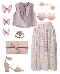 """Color Me Pretty. Pink."" by schenonek ❤ liked on Polyvore featuring Miss Selfridge, Chicwish, LC Lauren Conrad, Valentino and LULUS"