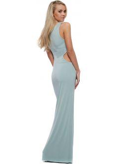 Pale Aqua Cut Out Jersey Maxi Dress