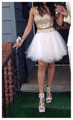 Bd07153 Charming Homecoming Dress,Two pieces Homecoming Dress,Organza Homecoming Dress, Beading Short Prom Dress