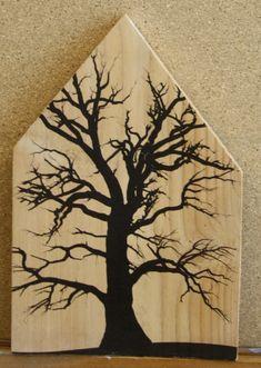 Eik in zwart op hout