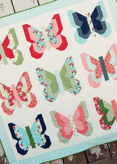 Social Butterfly quilt by Lella Boutique. Make it using 18 fat quarters. Gooseberry fabric by Vanessa Goertzen of Lella Boutique for Moda. Ships to stores October 2015.