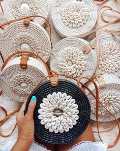 Shell Rattan Bag from Bali Roundie Shells is perfect to get chic yet classy look. Roomie enough to store your daily or beach essentials. Features Woven Ata Genuine Leather Strap Leather Clip Closure White and Brown Shells Traditional Motives Batik Lining Crochet Handbags, Crochet Purses, Crochet Bags, Purse Patterns, Crochet Patterns, Round Bag, Basket Bag, Custom Bags, Bead Crochet