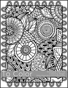 printable coloring pages for adults all over large doodle pattern pdf jpg instant download coloring book coloring sheet grown ups