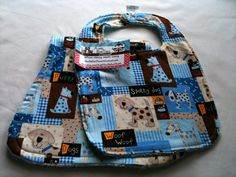 Brown and Blue Spotted Puppy Bib and Burp Spit Set