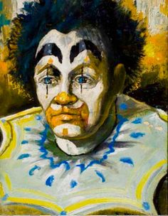 Robert Lyn Nelson  Painted at age 15.  Clown/Oilpainting  12x16  @robertlynnelson.com  @art