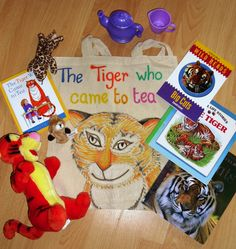 Tiger who came to tea story sack. I've since added a tiger hat and food picture cards. Kids Activity Books, Activities For Kids, Story Sack, Picture Cards, Learning Through Play, Education English, Spanish Class, Eyfs, Sacks