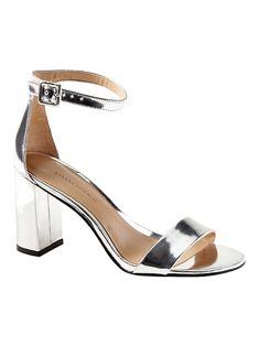 9c3d895b7c6 Banana Republic Womens Bare High Block-Heel Sandal Silver Patent Leather Silver  Block Heels