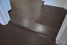 Cork floor to wood floor transition | Young House Love