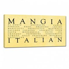 Great Gift For The Italian Kitchen Mangia Ready To Hang Wall Word Art Home Decor
