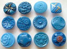 12 X 19mm Vintage Teal Blue Glass Buttons, Carved Floral, Enamel Painted
