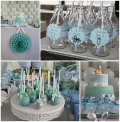 This pale blue and turquoise baby shower is reminiscent of the sea.