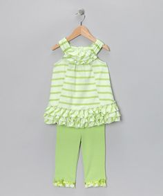 I love lime green for summer!  Take a look at this Green Stripe Tunic & Leggings - Infant, Toddler & Girls  by Kids Headquarters on #zulily today!