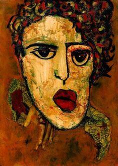 """Artist CARMEN LUNA; Mixed Media, """"12- RETRATOS Expresionistas. Artista"""" http://www.carmen-luna.com"""