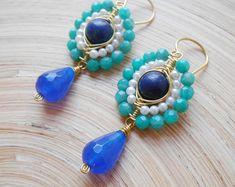 Bluebell gemstone beaded earrings blue green teal cluster dangle drop mandala amazonite lapis lazuli pearl jade gold fill Valentine's gift