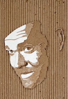 """""""Orson Welles"""" -- by Giles Oldershaw; a cardboard relief portraits created by carefully removing layers of corrugated cardboard. Cardboard Painting, Cardboard Sculpture, Art Sculpture, Cardboard Relief, L'art Du Portrait, School Art Projects, A Level Art, Art N Craft, Ap Art"""