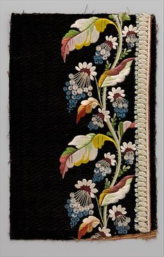 Japanese Embroidery Silk Embroidery sample for mens' suit (French, ). Silk thread on silk velvet. All the Pretty Flowers Couture Embroidery, Crewel Embroidery, Hand Embroidery Patterns, Ribbon Embroidery, Machine Embroidery, Embroidery Scissors, Embroidery Books, Border Embroidery, Embroidery Needles