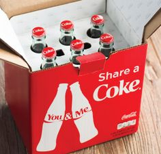"""Share a Coke... with the wedding party! You can customize with names or order """"bridesmaid"""" """"best man"""" etc, it would be a cute little gift with a mini bottle of rum!"""