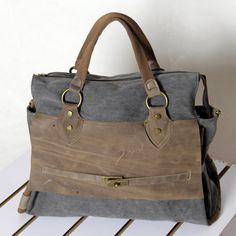 3 Colors Huge Bag Handmade Unisex Crazy-Horse Leather Washed Canvas Briefcase Notebook bag MacBook bag iPad Bag Shoulder Bag Messenger Bag S