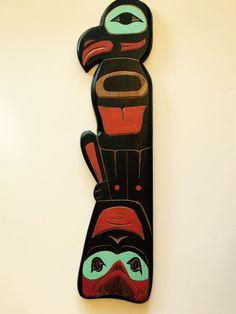 Tlingit Eagle Shark Wood Carving Plaque in Cedar