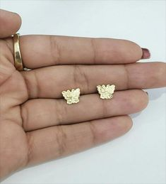 Solid Yellow Gold Butterfly Earrings Unique Pattern Kids Shape Diamond Cut by RG&D Shapes For Kids, Gold Diamond Earrings, Butterfly Earrings, Unique Earrings, Gemstone Colors, Gold Chains, Fashion Earrings, Diamond Cuts, Yellow