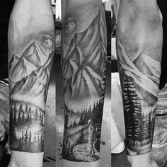 Nature Mountains Forearm Sleeve Tattoos For Guys