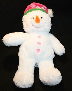 Build-A-Bear Christmas Snowman Girl Pink Hearts Cheeks Hat Snowflakes Plush