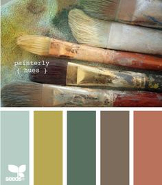 Living HW, earthy natural color scheme, muted jewel tones, paint brushes