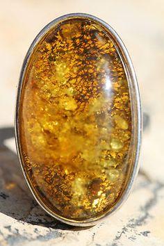 Large Vintage Modernist Sterling Silver Baltic Honey Amber Ring | eBay