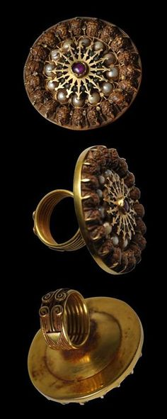 South India | Temple Gold Ring Set with Rubies, Emeralds, Pearls & Rudraksha Seeds | 18th-19th century | POR